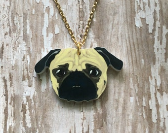 Adorable pug necklace