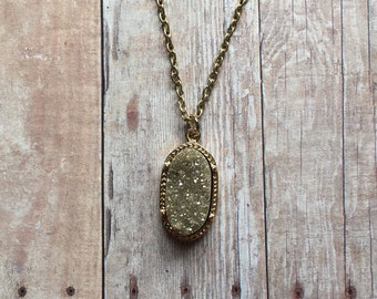 Gorgeous gold druzy necklace