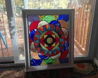 Stained glass geometric wall hanging