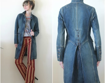 Vintage Denim Jacket Western Tails Denim Duster Coat Military Fitted Jacket