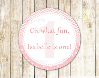 Its Fun To Be One Label 1st Birthday Gift Favor Tags Girl Birthday Thank You Sticker Printable First Birthday Party Label Personalized Label