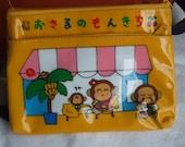 Vintage  Monkichi Vinyl Pencil Bag With Outside Zippered Pouch.  Monkichi's Family. Sanrio.
