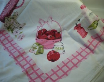 Vintage Kitschie Pink Red Green Retro Cotton Tablecloth