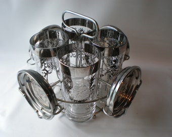 Vintage Silver Centurion Shield High Ball Glasses with Silver Plated Coasters Set of 4 with Carrier