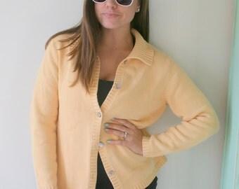 Vintage Lands End Button Down Sweater....preppy. designer. winter fashion. designer. rare vintage. yellow. geek. college. womens. librarian