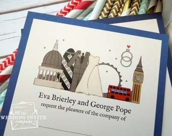 London Postcard Wedding/Evening Invitations