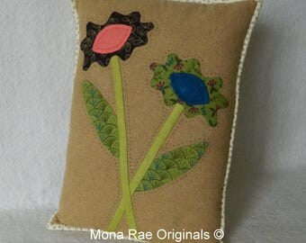 """Art Pillow ~ Everlasting Flowers Pillow, 12"""" x 15"""" Green, Blue, Burgundy Beige ~ Valentines Day Gift ~ Mothers Day Gift ~ Housewarming Gift"""