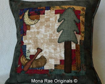 Art Canoe Pillow ~ 18 Inch OOAK ~ Hand Applique & Hand Quilted ~ Over 1,000 Stitches ~ Canoe, Tree, Moon Pillow