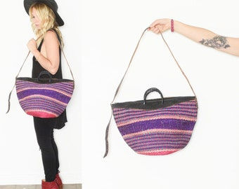 Vintage Sisal Market Bag , Ethnic Straw Straw Bag
