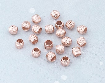 20 of Karen Hill Tribe Rose Gold Vermeil Style Hammered Beads 3.5x3 mm. :pg0332