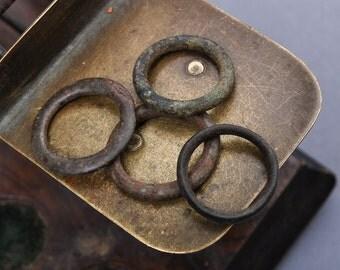 Set of 4 antique brass huge rings,  primitive finding (n3)