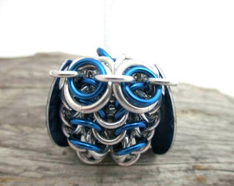 Royal Blue Owl Pendant Necklace - Chainmaille Owl Pendant - Owl Pendant - Chainmail Owl