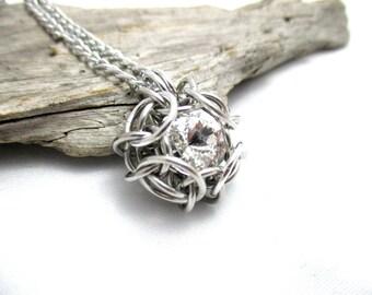 Swarovski Crystal Pendant - Phaedra Chainmaille Pendant - Swarovski Crystal Chainmail Pendant - Crystal