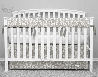 Crib Bedding Set - Crib Skirt and Teething Crib Rail Cover - Gray Damask - Choose Your Tie Color - CB0
