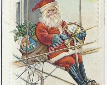 20% OFF Santa Claus Airship Christmas Postcard, Scarce, Dirigible Zeppelin Pilot, Antique 1910 Embossed Holiday Ephemera, FREE SHIPPING
