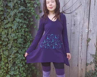 Organic Long Sleeve Tunic Hoodie Dress Soy Organic Plum Purple Cotton French Terry Silk Screen Printed Mermaids And Anchors
