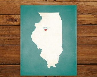 Customized Printable Illinois State Map - DIGITAL FILE, Aged-Look Personalized Wall Art