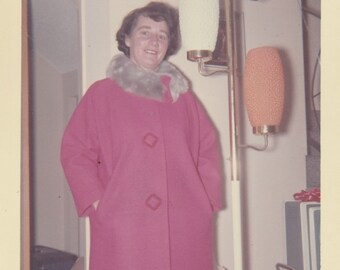 1960's Housewife in pink coat vintage photo.Retron lamp
