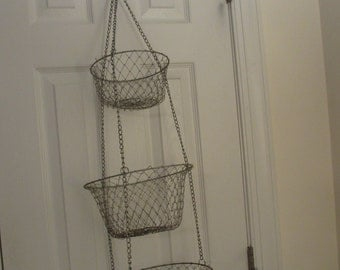 3 Tiered Hanging Wire Mesh Kitchen Basket, Baskets, Silver Colored