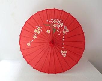 Vintage Chinese hand painted red fabric parasol, shade umbrella, cherry blossom umbrella, asian decor