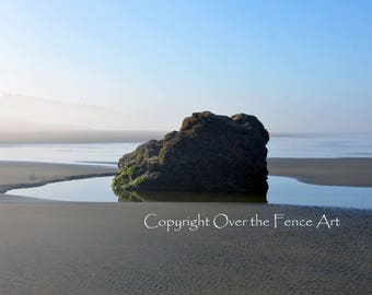 Beach Photography Greeting Card Photo Nature Sand Surf and Rock at Pacific Ocean Copalis Beach
