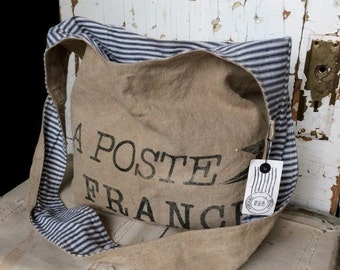 HOLIDAY BLOWOUT LA Postes France - reconstructed french post mail sack sling bag