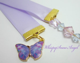 Butterfly Ribbon Bookmark Purple Butterflies Lilac Ribbon Journal Marker Swarovski Butterfly and Bicone Elements 110B