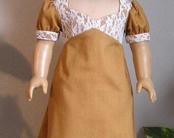 1810 Regency Copper Cotton Dress for 18 Inch or Caroline AG Doll