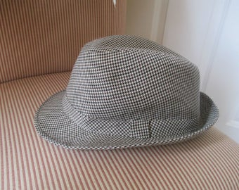 Vintage Houndstooth Fedora Hat - Size XL