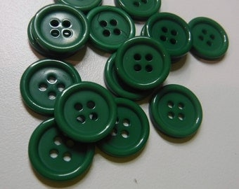 14 Forest Green Shaded Round Buttons Size 9/16""