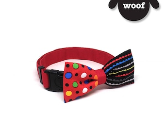 GOOOD Dog Collar (Medium Sz) | Smarty - Rocking in Red | 100% Red Dots & Sea Scallop Cotton Fabric