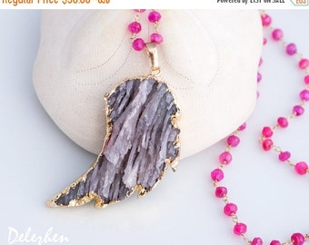40 OFF - Natural Druzy Agate Wing Pendant Necklace - Statement Necklace - Wire wrapped fuchsia Necklace - Electroformed Pendant