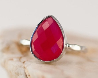 40 OFF - Fuchsia Pink Chalcedony Ring - Gemstone Ring - Stacking Ring - Sterling Silver Ring - Tear Drop Ring