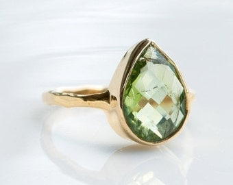 40 OFF - Green Peridot Ring - August Birthstone Ring - Gemstone Ring - Gold Ring - Bezel Set Ring - Tear Ring