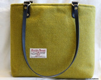 Lime Green Harris Tweed Tote Bag with two adorable leather handles