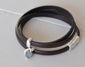 Brown Leather Wrist Strap, Heart Bracelet, Valentine Bracelet, Leather Bracelet, Leather Wrap Bracelets