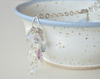Crystal Necklace, Y Necklace, Chain Tassle Necklace, Long Necklace, Fluorite Necklace, Purple Crystal Necklace