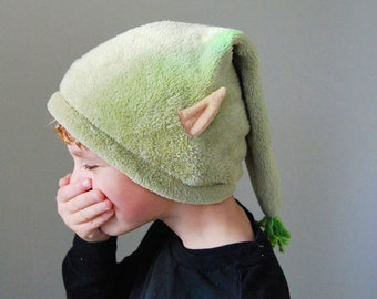 Green Elf Hat with Ears - Fuzzy Winter Elf Hat