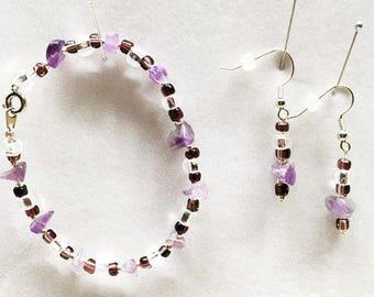 Glass Bead Bracelet, Purple Earrings, Purple Bracelet, Purple Beaded Earrings, Purple Beaded Bracelet, Glass Bead Earrings, Purple Jewelry