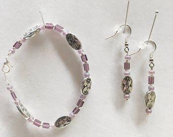 Purple Beaded Bracelet, Purple Bead Earrings, Purple Earrings, Purple Bracelet, Purple Jewelry, Handmade Earrings, Handmade Bracelet,