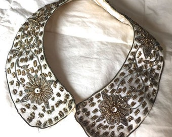 Vintage Gold Thread and Sequin Sweater Collar