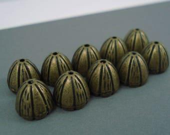Destash Bronze Bead Cap 10MM 10 Pieces
