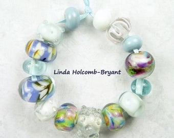 Lampwork Glass Bead Set of Blue White Lavender and Pink - Set of 15