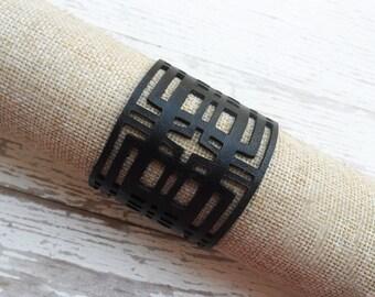 Black leather geometric bracelet with a gold magnet clasp or cuff bracelet ,  statement bracelet  ,  statement bracelet   , boho chik