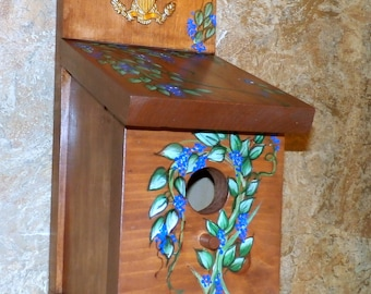 Hand Crafted Wood Birdhouse With Brass Eagle Bird House - Hand Crafted In The USA - Ready To Ship