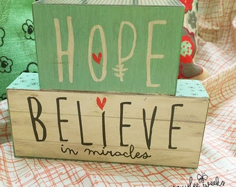 Hope, Believe in Miracles - stacked blocks - inspirational art by amylee weeks