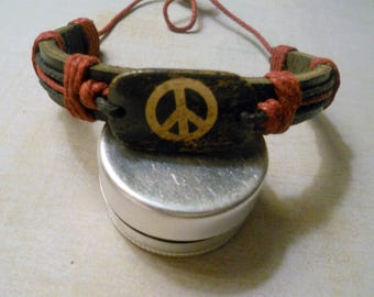 Leather Peace Bracelet ~ Vintage Cord-Wrapped Leather with Gentle Wear ~ Woodstock Memory for Everyone