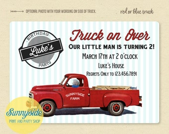 Truck Birthday Invitation - retro pickup truck in red or blue, truck on over birthday party invite, printable invitation with photo, vintage