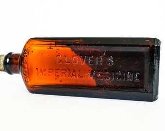 Glover's Imperial Medicine Bottle, H. Clay Glovers Co., Vintage Glass Bottle, Vintage Medicine Bottle, Vintage Apothecary Bottle, WITH CAP
