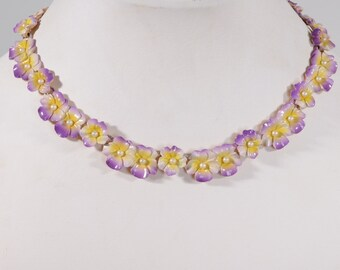 Vintage 1960s Floral Wedding Necklace - Pansy Choker - Spring Fashions